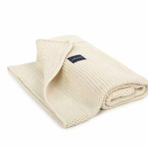 Kocyk tkany Organic kremowy - Poofi