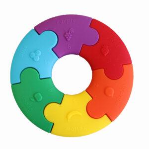 Pierwsze puzzle sensoryczne - tęczowe kółko - Jellystone Design
